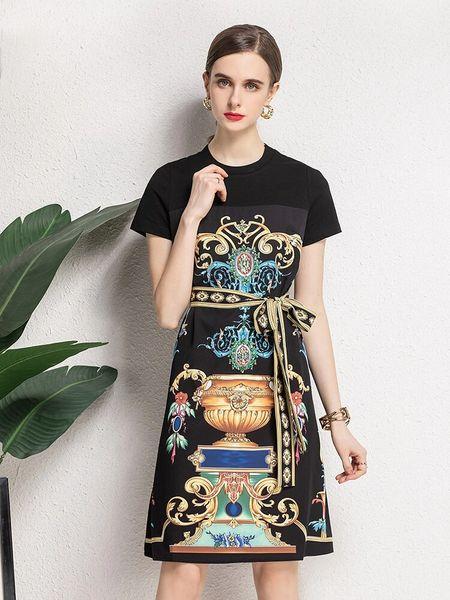 8405 Runway 2021 Baroque Print Vase Black Mini Dress