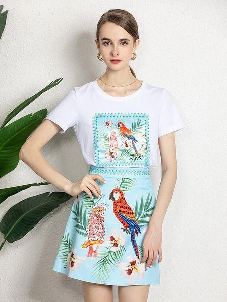 8407 Runway 2021 Vacation Parrot Print Skirt+ T-shirt Twinset