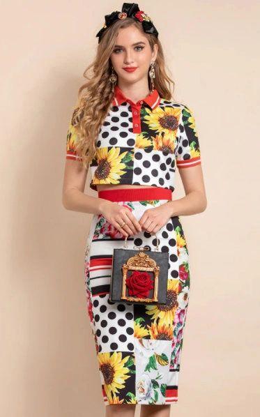 8408 Runway 2021 Polka dot Sunflower Print Skirt+ Crop Top Twinset