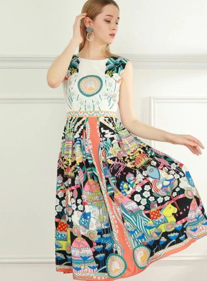 8409 Runway 2021 Novelty Print Midi Dress