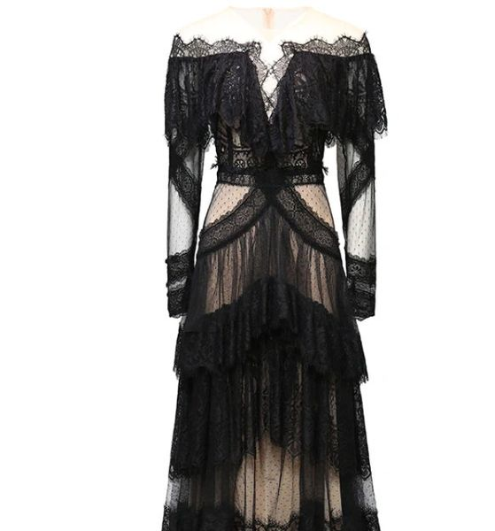 8411 Runway 2021 Evening Sheer Lave Gown Mid Cuff Dress