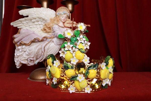 8413 Baroque Sicilian Lemon Fruit Hand Painted Crown Headband