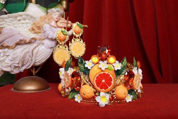 8414 Baroque Sicilian Orange Fruit Hand Painted Crown Headband