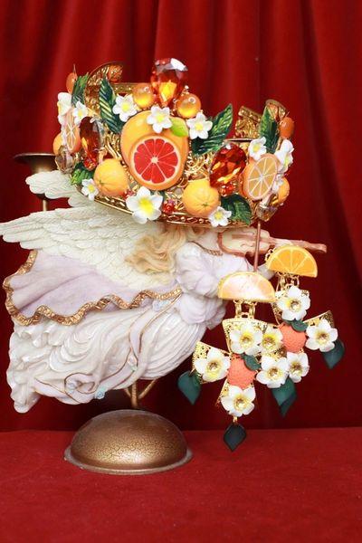 8415 Massive Sicilian Orange Cross Fruit Hand Painted Studs Earrings