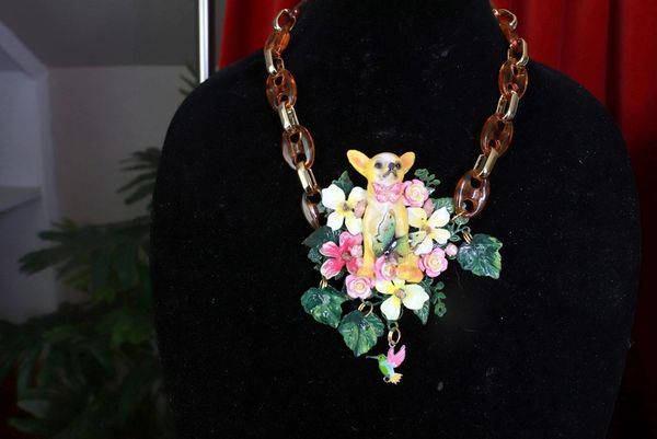SOLD! 8419 Art Jewelry Vivid Chihuahua Chained Massive Necklace