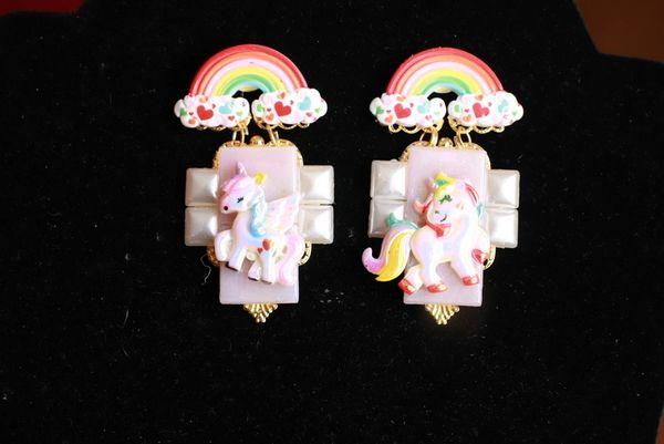 8420 Baroque Colorful Unicorns Iridescent Massive Studs Earrings