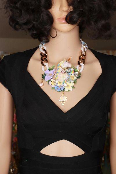 8422 Art Jewelry 3D Effect Unicorn Pastel Flowers Cameos Necklace