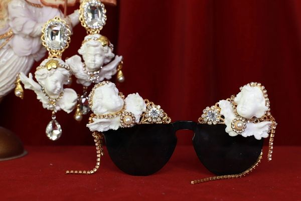 8423Baroque Chubby White Faced Cherubs Embellished Sunglasses