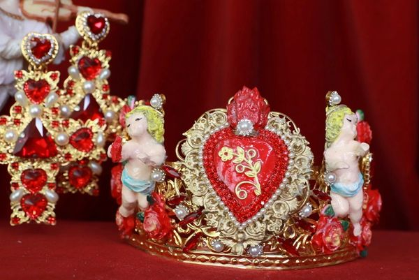 8424 Baroque Sacred Heart Cherubs Hand Painted Crown Headband