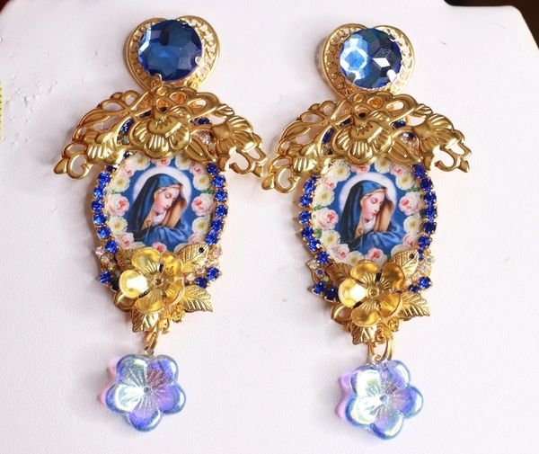8426 Virgin Mary Blue Gold Studs Earrings