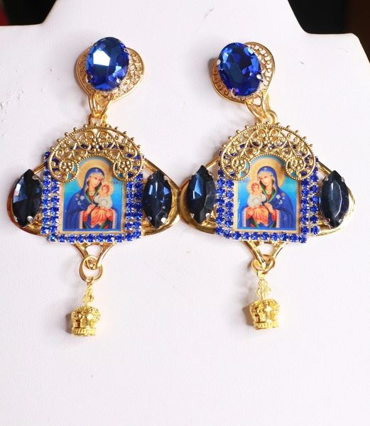 8428 Virgin Mary Icon Blue Gold Studs Earrings