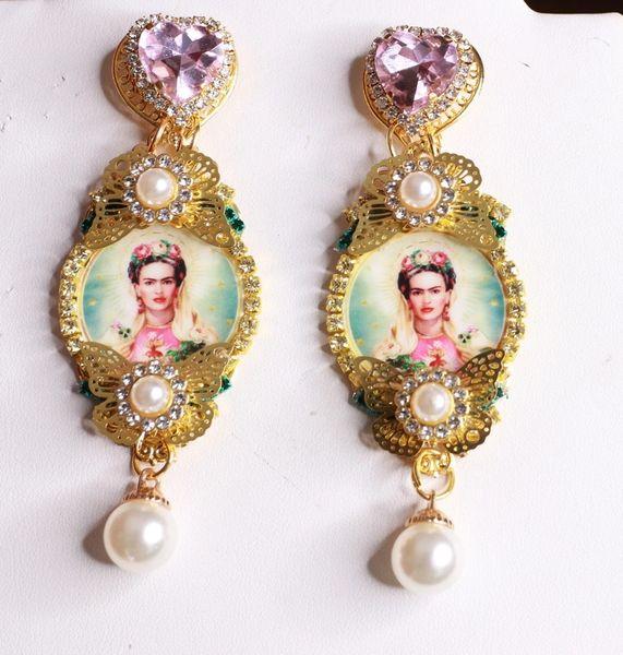 8429 Frida Kahlo Pink Rhinestone Studs Earrings
