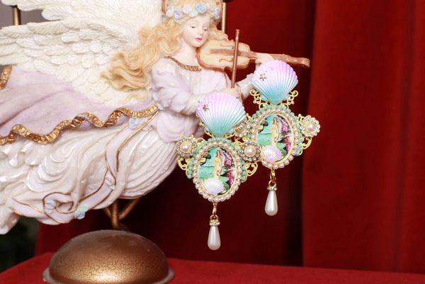 SOLD! 8430 Birth Of Venus Rhinestone Studs Earrings
