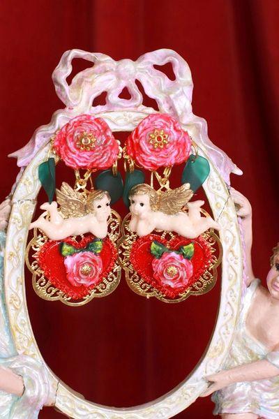 8431 Baroque Cherubs Angels Heart Studs Earrings
