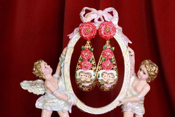 8432 Baroque Cherubs Angels Heart Studs Earrings