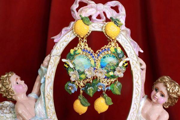 SOLD! 8433 Baroque Taormina Italian Lemon Fruit Cameo Studs Earrings