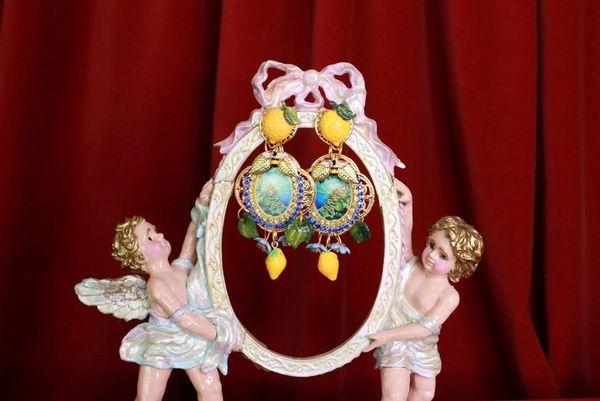 8434 Baroque Taormina Italian Lemon Fruit Cameo Studs Earrings