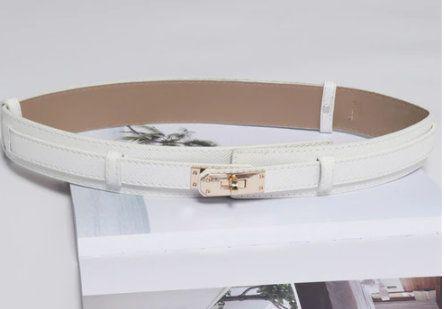 8436 Baroque White PU Leather Fancy Waist Belt Size M-L