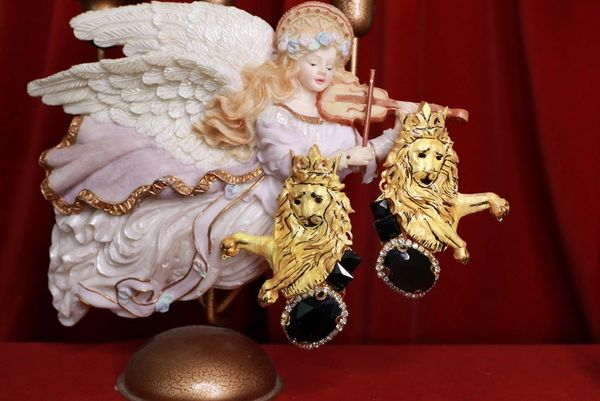 8448 Baroque Lions Massive Hand Painted Studs Earrings