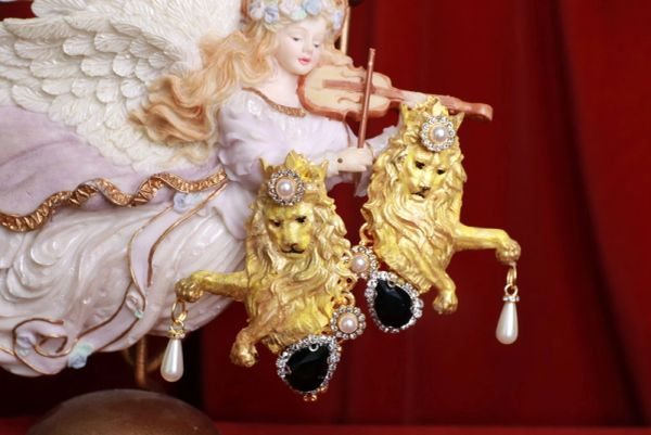 SOLD! 8449 Baroque Lions Massive Hand Painted Pearl Studs Earrings