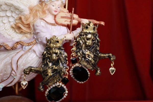 8450 Baroque Lions Massive Hand Painted Bronze Studs Earrings