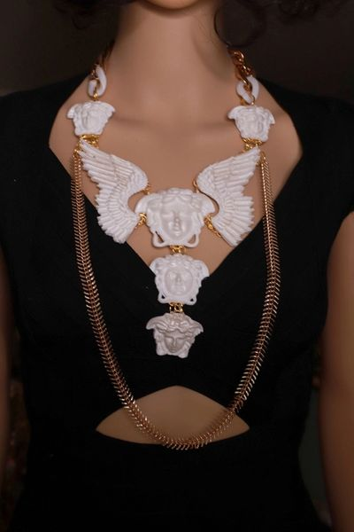 SOLD! 8451 White Winged Medusa Mystical Long Necklace