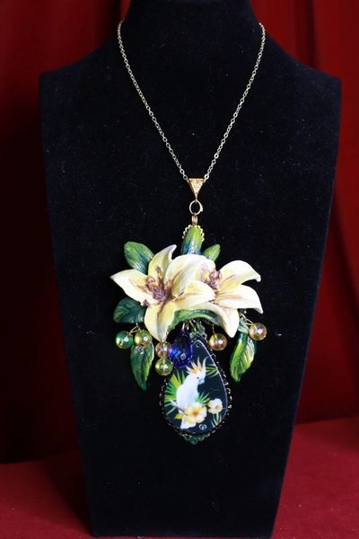 SOLD! 8453 Massive Parrot Lily Flower Hand Painted Pendant