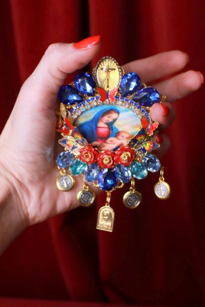 8461 Virgin Mary Madonna And A Child Cameo Blue Massive Brooch