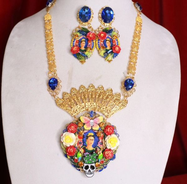 8462 Set Of Frida Kahlo Sacred Heart Bright Colors Necklace+ Earrings