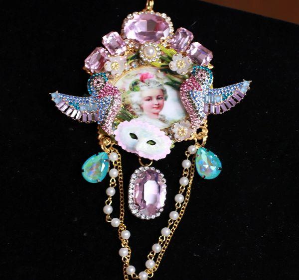 8464 Marie Antoinette Pink Rhinestones Cameo Massive Pendant Necklace