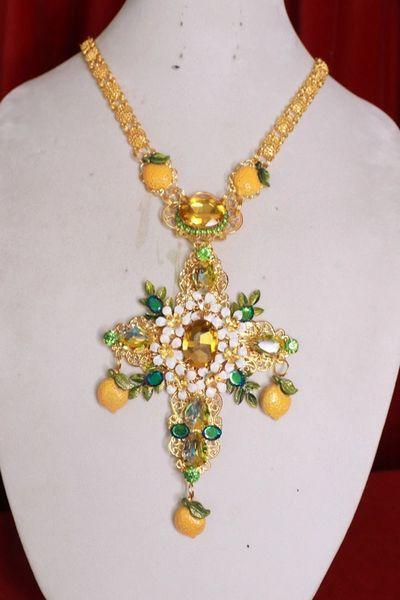 8465 Baroque Lemon Fruit Rhinestone Massive Cross Necklace