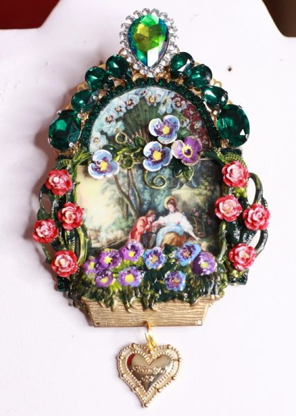8466 Rococo Paintings François Boucher Lovers In a Garden Hand Painted Brooch