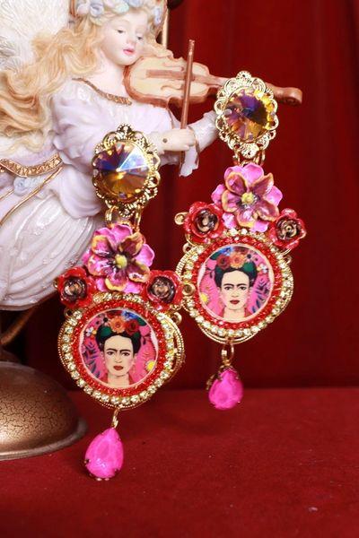 8467 Frida Kahlo Pink Fuchsia Rhinestone Studs Earrings