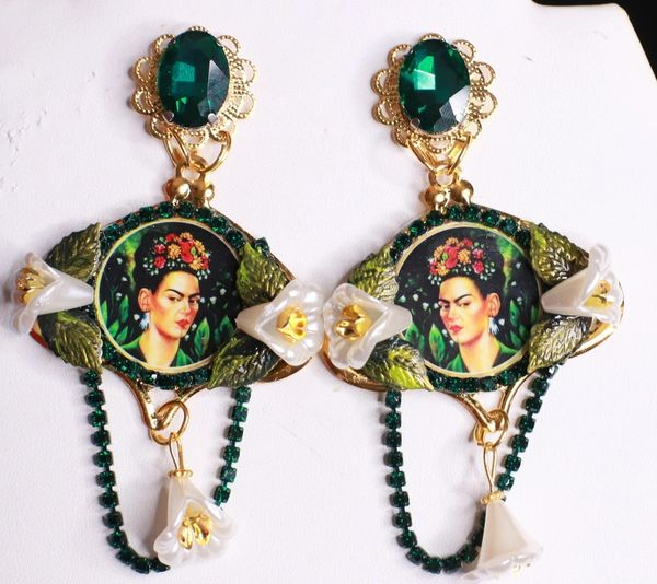 8468 Frida Kahlo Lily Of The Valley Rhinestone Studs Earrings