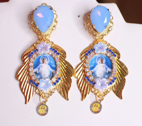8469 Virgin Mary Madonna Blue Rhinestone Winged Studs Earrings