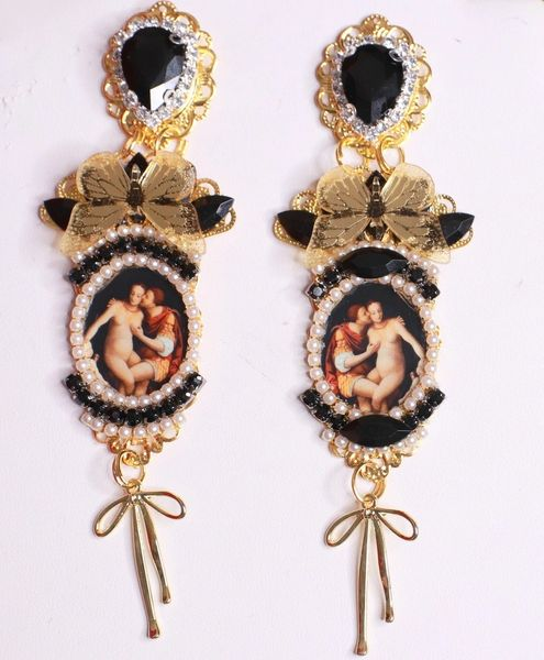 SOLD! 8472 Vintage Style Painting Couple Butterfly Rhinestone Studs Earrings