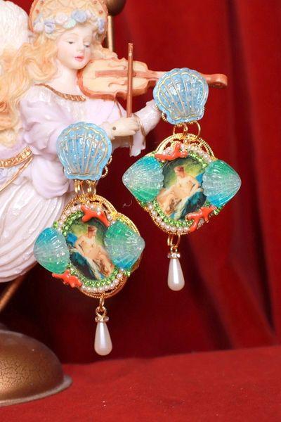 8473 Francois Boucher Bathing Diana Shell Earrings