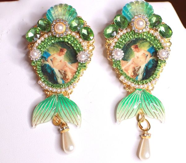 8475 Francois Boucher Bathing Diana Shell Long Earrings
