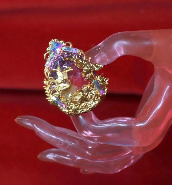 8476 Asian Japanese Crane Embellished Genuine Agate Cocktail Adjustable Ring