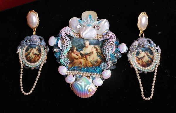 SOLD! 8478 Set Of Rococo Paintings François Boucher Diana after Hunt Hand Painted Brooch+ Earrings