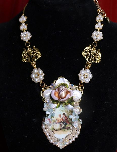 8479 Bridal Rococo Paintings Francois Boucher Hand Painted Massive Statement Necklace