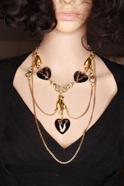 SOLD! 8481 Runway Stylish Baroque Black Hearts Hands Necklace