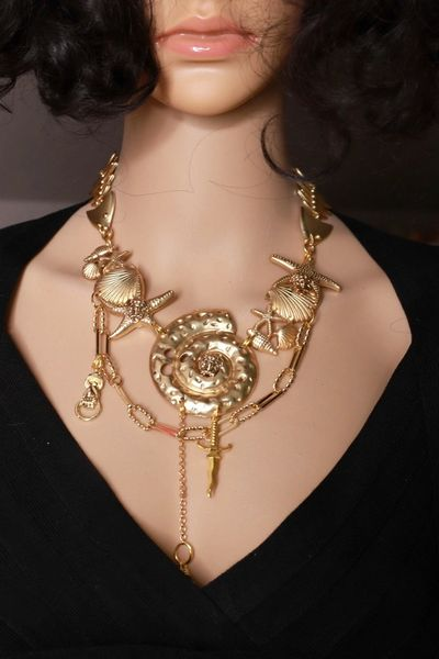 SOLD! 8482 Runway Baroque Gold Tone Nautical Shell Necklace