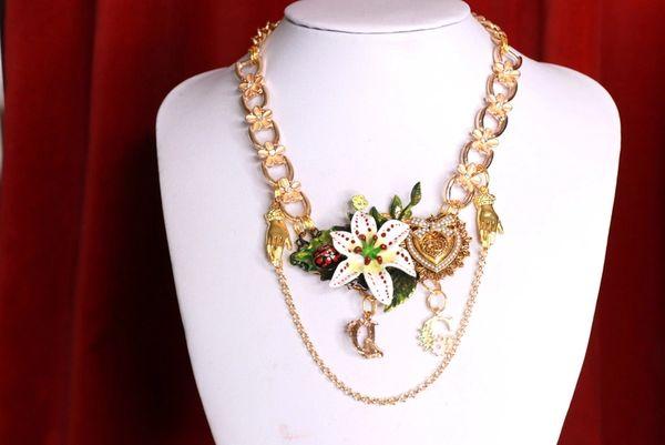 SOLD! 8483 Runway Baroque Enamel Lily Heart Elegant Necklace