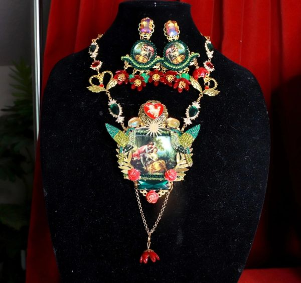 SOLD! 8483 1set Of Renaissance Paintings Francois Bouche Lovers Massive Statement Necklace+ Earrings
