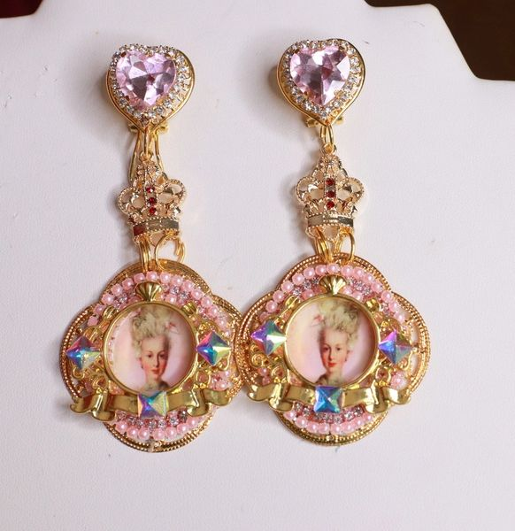 8485 Young Marie Antoinette Pale Cameo Long Elegant Earrings
