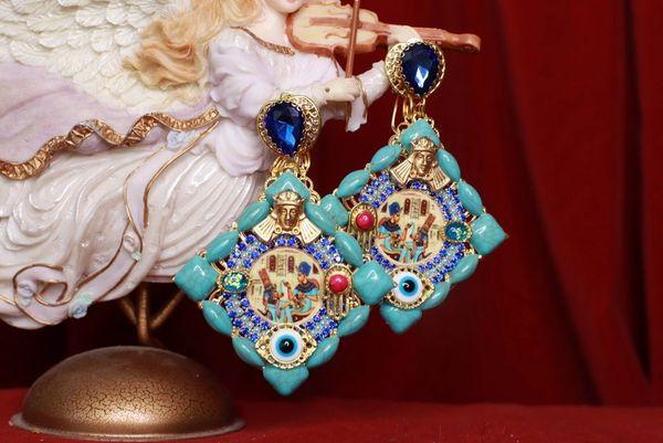 8488 Egyptian Revival Massive Turquoise Color Earrings