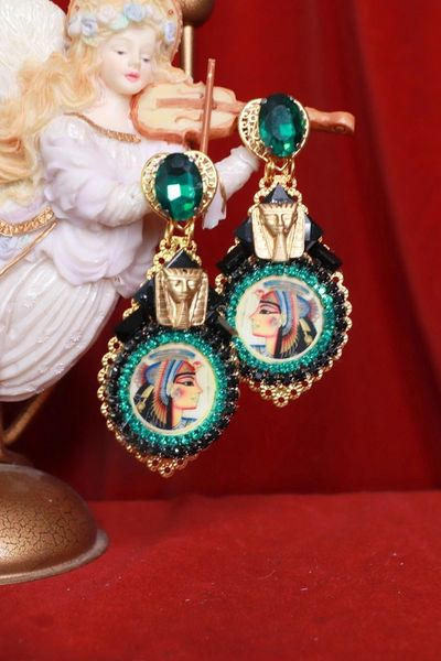 8489 Egyptian Revival Cleopatra Massive Turquoise Color Earrings