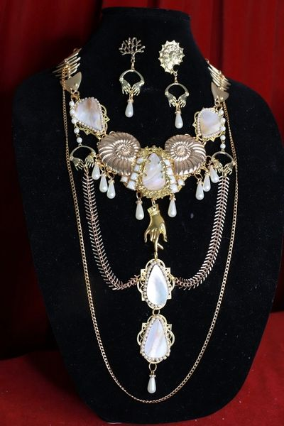 SOLD! 8490 Set Of Baroque Genuine Mother Of Shell Nautical Necklace+ Earrings