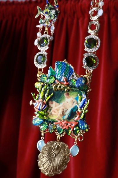 8491 Rococo Paintings Bathing Diana Hand Painted Massive Statement Necklace
